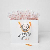 Mini boys white Mini monkey gift bag