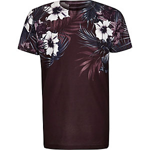 Boys purple floral shoulder print T-shirt