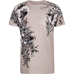 T-Shirt mit asiatischem Muster in Lila