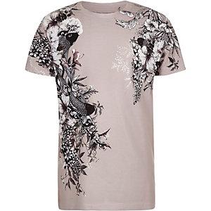 T-shirt violet clair à imprimé oriental pour garçon