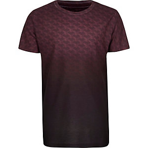 Boys purple faded geo print T-shirt
