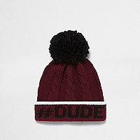 Mini boys burgundy cable knit bobble hat