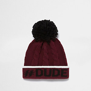 Mini boys burgundy cable knit bobble hat
