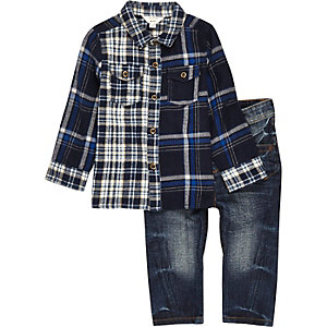 Mini boys blue mixed check shirt jeans set