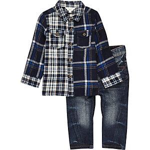 Ensemble mini garçon jean et chemise bleue à carreaux