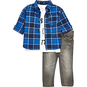 Mini boys check shirt, T-shirt and jeans
