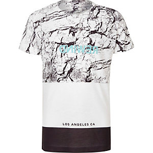 Boys white block print T-shirt