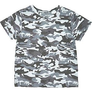 Mini boys blue camo print T-shirt