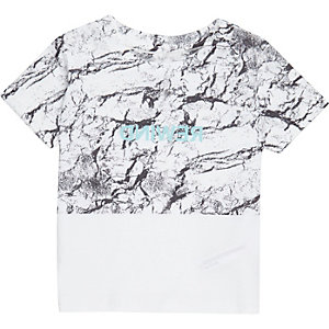 Mini boys white block print T-shirt