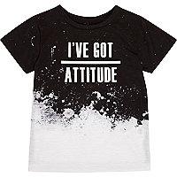 Mini boys black and white slogan T-shirt