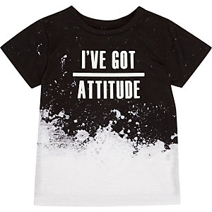 Mini boys black and white slogan T-shirt