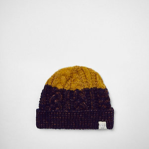 Mini boys navy twist knit block beanie