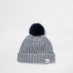 Mini boys grey faux fur pom pom beanie