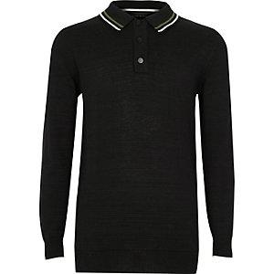 Schwarzes, langärmliges Poloshirt