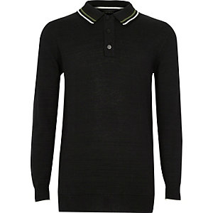 Boys black long sleeve polo shirt
