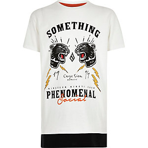 Boys white print contrast hem T-shirt