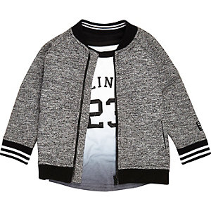 Mini boys grey print bomber and T-shirt set