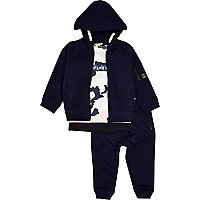 Mini boys blue hoodie, T-shirt and joggers