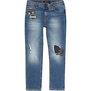 Slim Fit Jeans in mittelblauer Waschung
