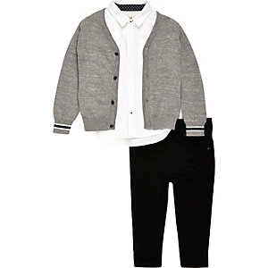 Mini boys grey cardigan, shirt and jeans set