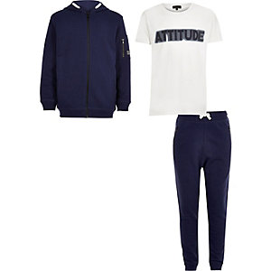 Boys blue and white hoodie set