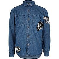 Boys blue badge denim shirt