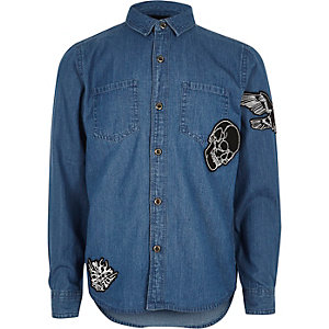 Boys blue badge denim shirt