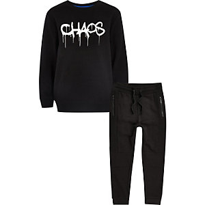 Boys black 'CHAOS' jogger set