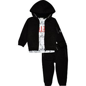 Ensemble pantalon de jogging et sweat à capuche noir style gothique pour mini garçon