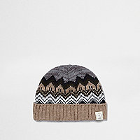 Mini boys khaki brown Fair Isle knit beanie