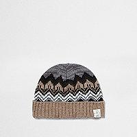 Mini boys rust Fair Isle knit beanie