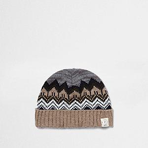 Mini boys khaki brown Fair Isle knit beanie