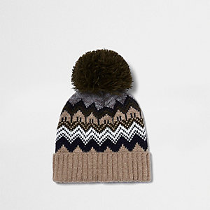 Boys khaki brown Fair Isle bobble hat