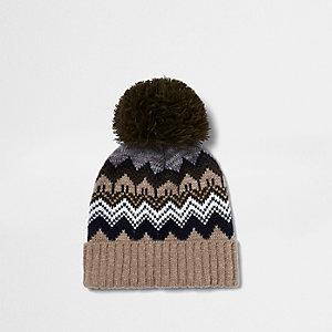 Boys rust brown Fair Isle bobble hat