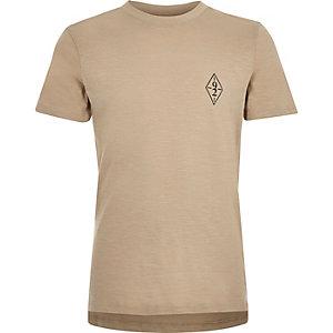 T-shirt grège à logo pour garçon