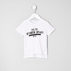 Mini boys white 'superhero' print T-shirt
