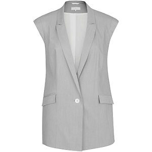 Grey slevless double breasted vest