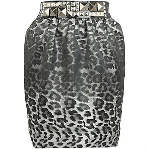 Grey animal print skirt