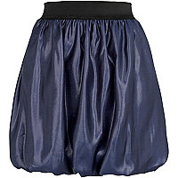 Blue bubble hem mini skirt