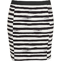 Black stripe pull on mini skirt