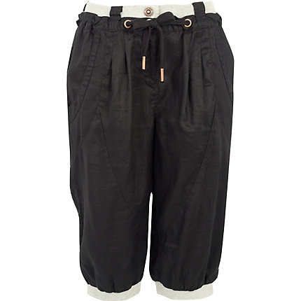Black linen bermuda shorts