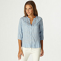 Blue lace smock blouse top