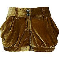 Brown velvet drape shorts