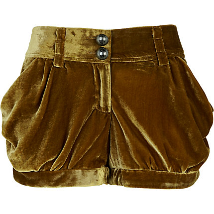 Brown velvet drape shorts