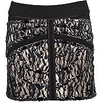 Black bead embellished lace mini skirt