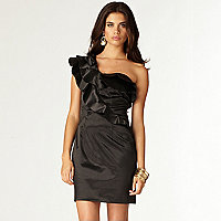 Black one shoulder ruffle dress