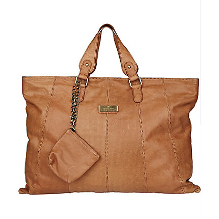 dark beige flat leather tote bag