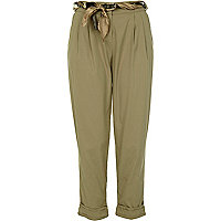 Beige chino peg leg trousers