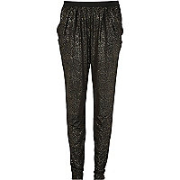 Black leopard print trousers