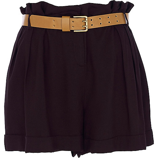 Black smart paperbag shorts